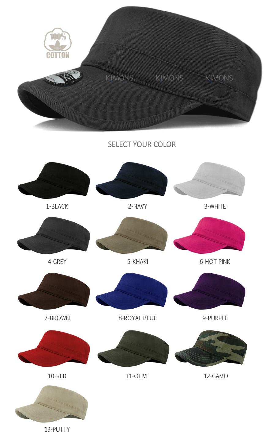 Military Cap Army Hat Cadet Patrol Castro Men Women Golf Driving ... d4be6b0131a