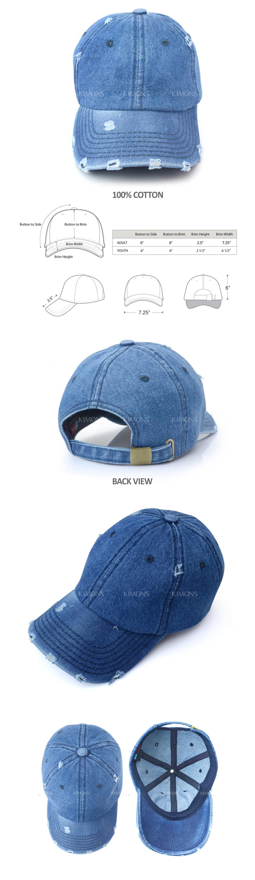 d133600f566 Vintage Distressed 100% Cotton Solid Polo Denim Baseball Cap Hat ...