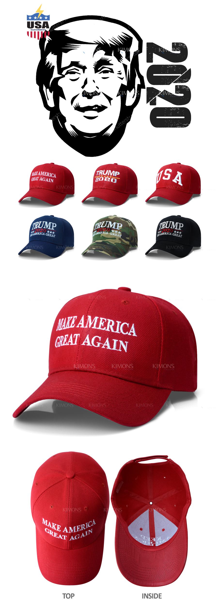7ff09500ad3 Trump Hat Cap President Make America Great Again MAGA Baseball RED ...