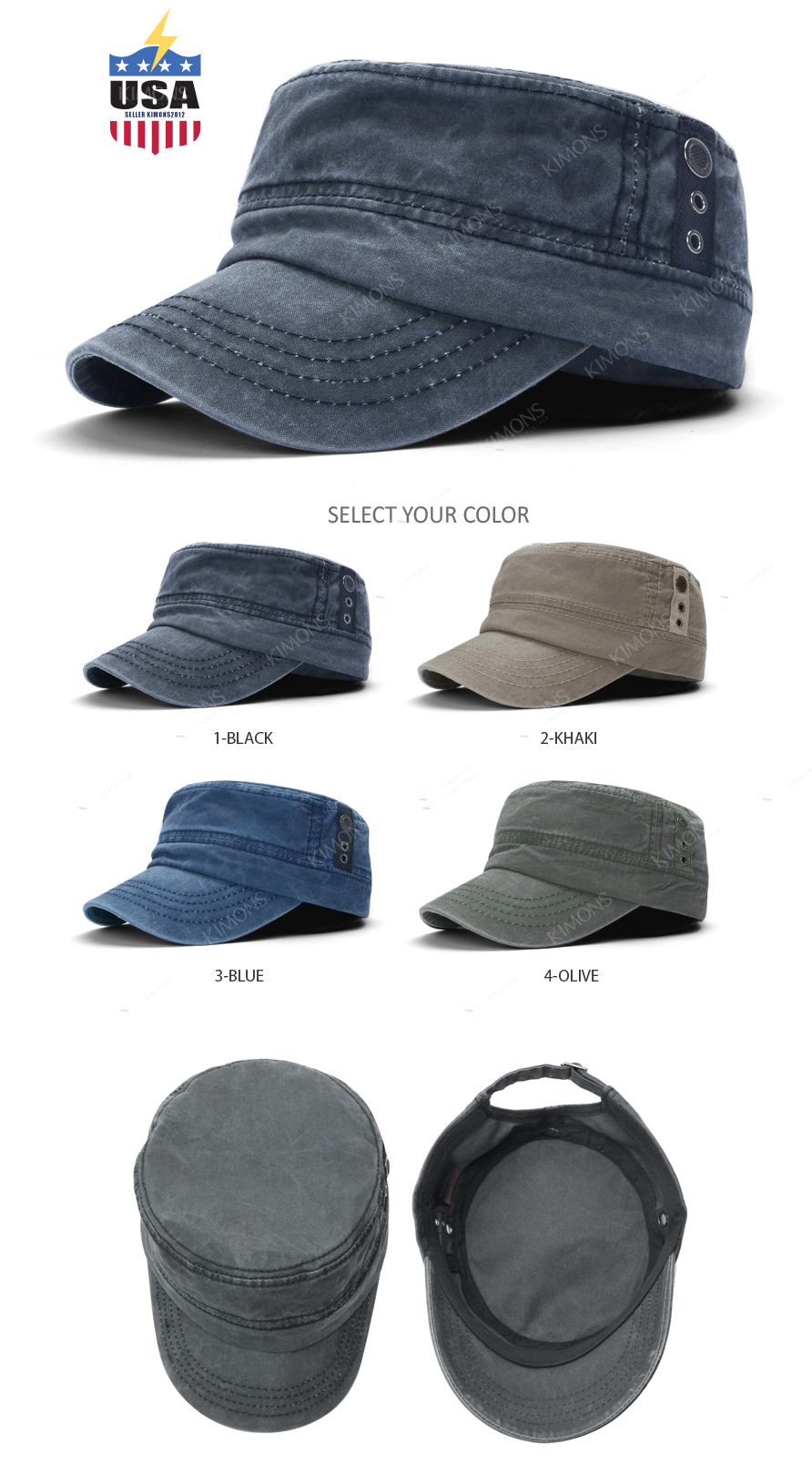 dd41778b Details about Air Cotton Army Cap Hat Men's Classic Military Cadet Patrol  Style Brim Summer