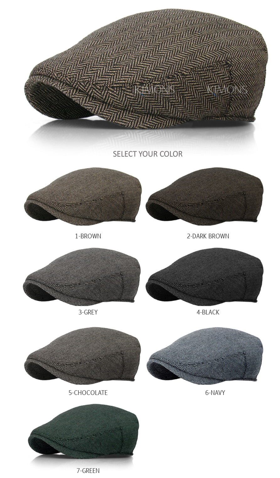 87178cd8812 EM Herringbone Ivy Hat Wool Stripe Gatsby Cap Golf Driving Flat ...